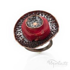 Big Adjustable Red Coral Pod Ring Handmade Round Copper Finger Ring by #popnicute. $90. #copper #coral #red #unique #cute #handmade #jewelry #pod #ring