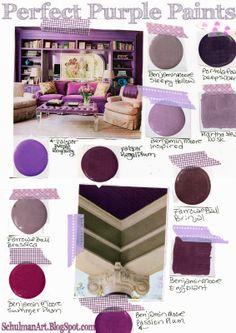 purple paint colors   purple paint   decorating ideas on http://schulmanart.blogspot.com/2014/04/11-perfect-purple-paint-shades.html