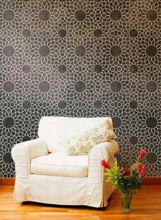 Black and White Moroccan Wall Stencil | Intricate Zelij Wall Stencil | Royal Design Studio