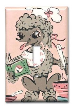 Poodle in the Kitchen 1950's Vintage Wallpaper Switch Plate