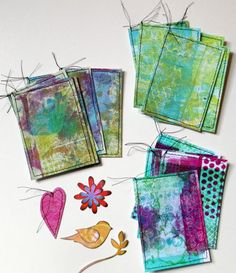What To Do With Gelli Print Papers  Happy Friday! I kept a promise to myself to not make any more gelli prints until I used some from the pile I have already accumulated. So here is what I've come up with so far: