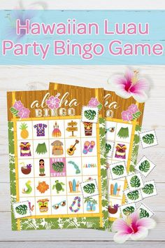 Luau Party Bingo Game - Hawaiian tiki themed game that is perfect for the whole family.