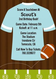 Football - Birthday Party Invitations....change jersey color and wording of course