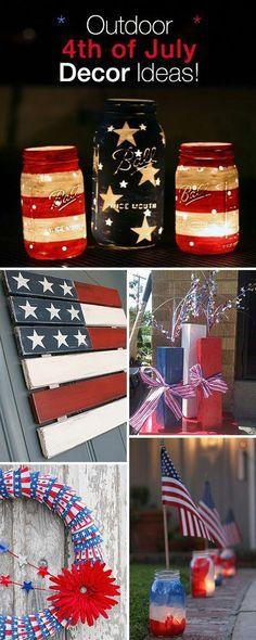 Outdoor 4th of July Decor • Great ideas and Tutorials! DIY Outdoor Decor #diy #homedecor #outdoorentertaining #4thofjulydecorations
