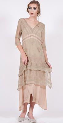 5901 Vintage Titanic Dress in Sage/Peach