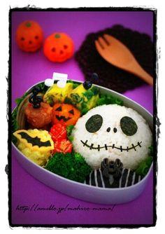 healthy meals, halloween bento, halloween dinner, christmas meals, halloween themes, food, halloween snacks, box lunches, jack skellington