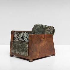 1940s walnut art deco club chair / original upholstery
