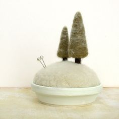 Snowy Pines  Frosty Fir Tree Pincushion Home by FoxtailCreekStudio,