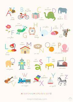 printable french alphabet poster