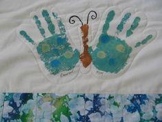 Butterfly handprint quilt