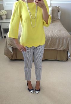 great colors, love these pants and the top is cute too --- StylishPetite.com | End of Summer Work Outfit Ideas