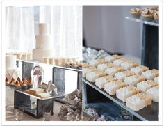 Modern silver and white dessert bar!  Luxe La Jolla  Wedding by Alchemy Fine Events. www.alchemyfineevents.com