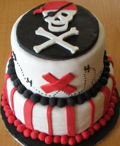 Red, white and black pirate cake