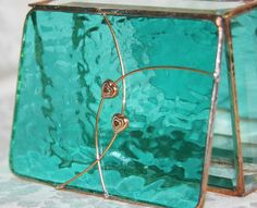 Beautiful, teal stained glass box