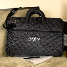Black Quilted Personalized Laptop Case from Wedding Favors Unlimited