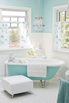 dream bathrooms, color, bathtub, tiffany blue, clawfoot tubs, bathroom designs, paint, white bathrooms, light
