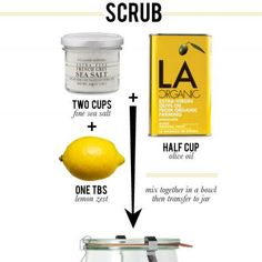 bodi scrub, body scrubs, bodyscrub, olive oils, sea salt, beauti, salt scrubs, diy, lemon