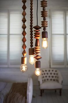 wooden pendant lights.