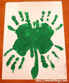 St. Patrick's Day craft--handprint clover. You can use paint or you can trace their hands with crayons or markers and color in.