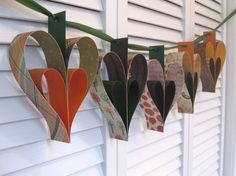 Fall Heart Garland- 5 Hearts in Orange, Green, Brown - beautiful!