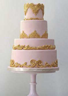 pink gold wedding cake, pink cakes, wedding cakes, eat cake