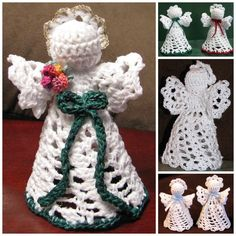 Angels in August Sale at Heritage Heartcraft - Mini crocheted angels are handcrafted with love and prayers. Each one varies slightly as I intentionally change a detail here and there to make each one unique. Mini Angels stand about 3 to 4 inches tall and are carefully starched to stand on their own, or may be hung on your Christmas tree. thread crochet angel