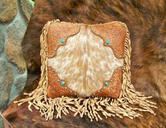 Leather fur pillow home decor vintage by stargazermercantile, $295.00
