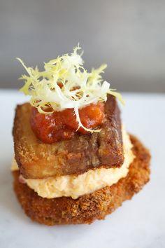 ... Tomato BLT (Pork belly, green tomato jam, house-made pimento cheese