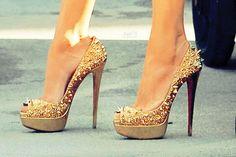 spike, fashion, sparkly shoes, heel, woman shoes, stud, christian louboutin, walk, gold shoes