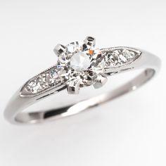 Antique 1930's Diamond Engagement Ring w/ Old Euro Diamond Platinum