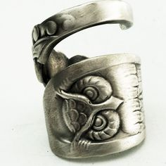 Owl Ring Spoon Ring with Owl Sterling Silver Made in by Spoonier....