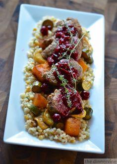 Balsamic Pork Tenderloin & Vegetables with Harvest Grains & Cranberries by dinnervine #Pork_Tenderloin #Balsamic