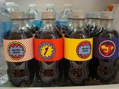 use superhero water bottle labels on soda bottles.