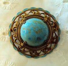 Faux Turquoise Vintage Brooch, on Etsy at RetroRosiesVintage