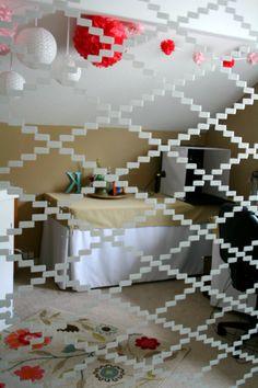 Stenciled craft room mirror doors- Royal Design Stencil