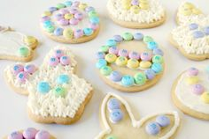 Easter Cookies Recipe ~ Your family will love these adorable Easter Cookies that are decorated with sweet vanilla icing and M&M'S® Brand Milk Chocolate Candies Bunny Mix!