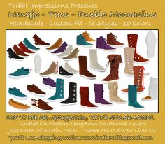 Handmade Navajo, Pueblo Moccasin Line! Review the collection off of: http://www.indianvillagemall.com/taosmoccasins.html
