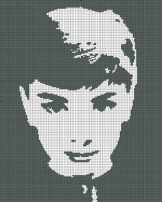 Cross Stitch Pattern Audrey Hepburn Silhouette Handmade Black and White pdf. $4.00, via Etsy.