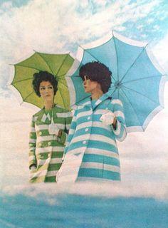 colors, umbrella, curls, magazines, life magazine, coats, blues, stripe, 1960