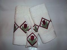 Conjunto para lavabo - toalha de rosto, lavabo e sache com aplicação de tulipas - foundation