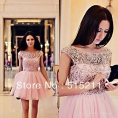 Modest Crystal Cap Sleeve Pink Tulle Semi Formal Cocktail Homecoming Dress New Fashion Girl 8th Grade Graduation Dresses 2013  $129.99