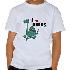 Cute I Love Dinos Design Tee Shirt #dinosaurs #funny #shirts #love #brontosaurus #cute #zazzle #petspower