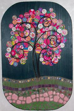 Mosaic-Mixed Media Art Plaque-Recycled Tin and Stained Glass Tree. $84.00, via Etsy.