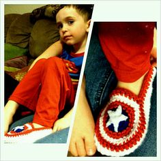 Crochet Captain America slippers. Use the idea for keyring maybe...