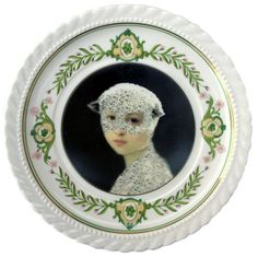 Mary Was a Little Lamb - Altered Vintage Plate 6.4""