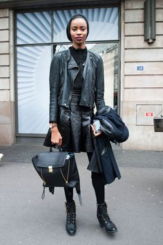 All-black with a Pashli backpack. Model #Streetstyle Paris Fashion Week #PFW