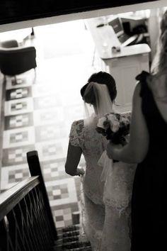 Bride going down the stairs - Gougane Barra Hotel #wedding #bride