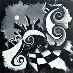"""A whimsical black and white painting of downtown Indy by Justin Vining titled """"Indianapolis Nights"""".  It is a mixed media painting on stretched canvas and is 48x48""""."""