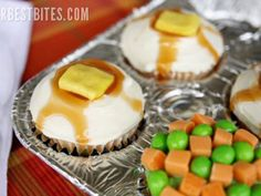 Substitute green Runts for peas, orange Starburst for carrots and yellow Laffy Taffy for butter to make this dessert disguised as supper.