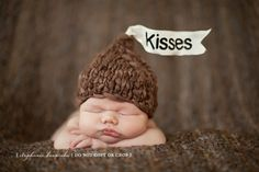 Dark chocolate Hershey kisses for baby